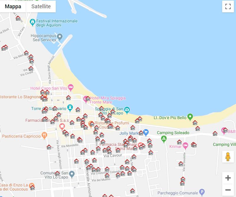 Sicilia Cartina San Vito Lo Capo.Mappa Delle Strutture Turistiche A San Vito Lo Capo San Vito Web